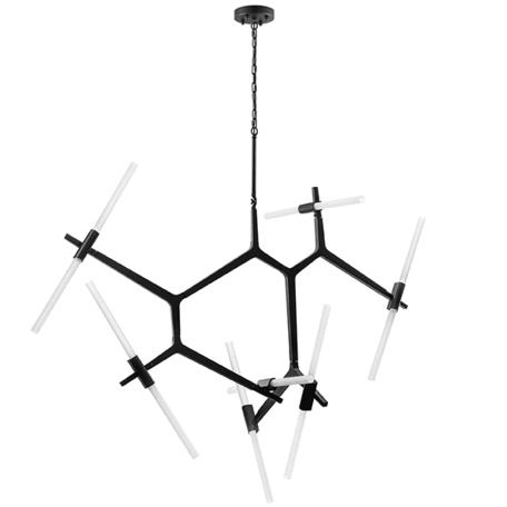 Подвесная люстра Lightstar Struttura 742147, 14xG9x40W, черный, белый, металл, стекло