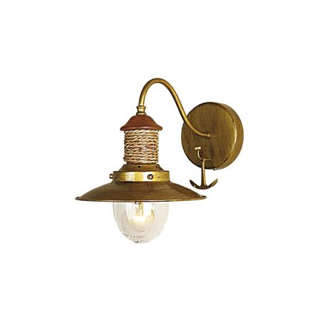 Бра Favourite Sole 1216-1W, 1xE14x40W, коричневый, матовое золото, канат, металл, дерево, металл со стеклом