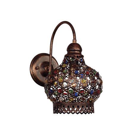 Бра Favourite Latifa 1666-1W, 1xE27x40W, коричневый, разноцветный, металл, металл с хрусталем