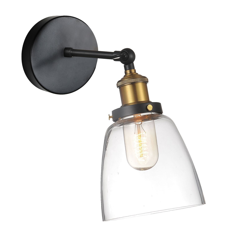 Бра с регулировкой направления света Favourite Cascabel 1874-1W, 1xE27x60W, черный, прозрачный, металл, стекло - фото 1