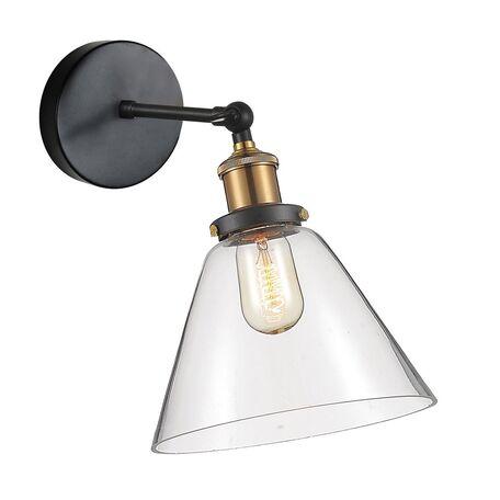 Бра с регулировкой направления света Favourite Cascabel 1875-1W, 1xE27x60W, черный, прозрачный, металл, стекло