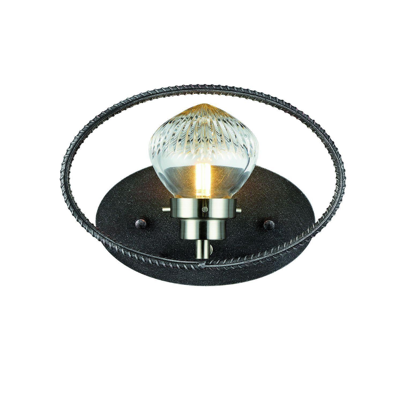 Настенный светильник Favourite Lick 1902-1W, 1xG9x5W, черный с серебряной патиной, прозрачный, черный, металл, стекло - фото 1
