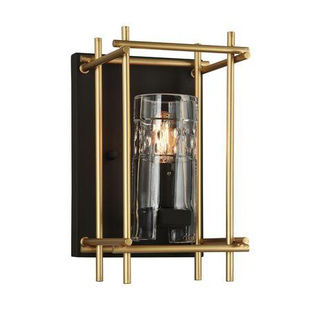Настенный светильник Favourite Coppa 1912-1W, 1xE14x40W, черный, матовое золото, металл, металл со стеклом