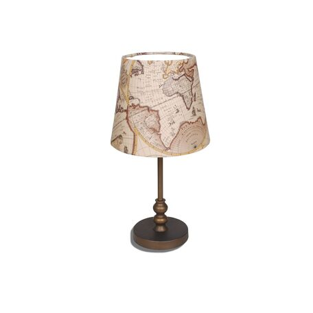 Настольная лампа Favourite Mappa 1122-1T, 1xE27x60W, коричневый, бежевый, металл, текстиль