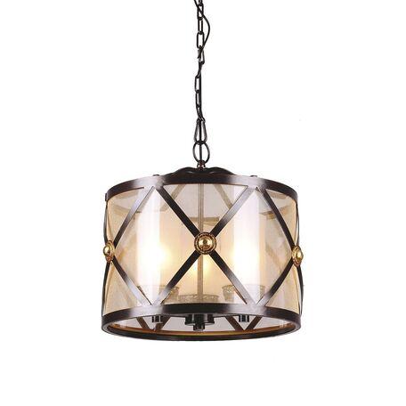 Подвесная люстра Favourite Capella 1145-3P, 3xE27x40W, коричневый, коньячный, металл, текстиль