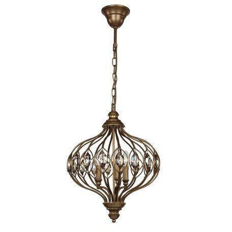 Подвесная люстра Favourite Fes 1382-3P, 3xE14x40W, коричневый, коньячный, металл, хрусталь
