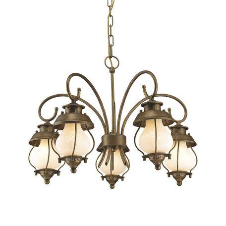Подвесная люстра Favourite Lucciola 1460-5P, 5xE14x40W, коричневый, белый, металл, металл со стеклом