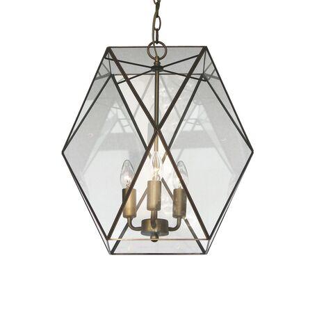 Подвесная люстра Favourite Shatir 1628-3P, 3xE14x40W, бронза, прозрачный, металл, стекло