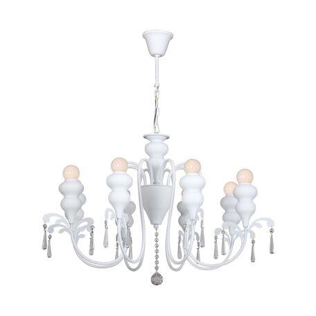 Подвесная люстра Favourite Kenia 1674-8P, 8xE14x40W, белый, прозрачный, металл, хрусталь