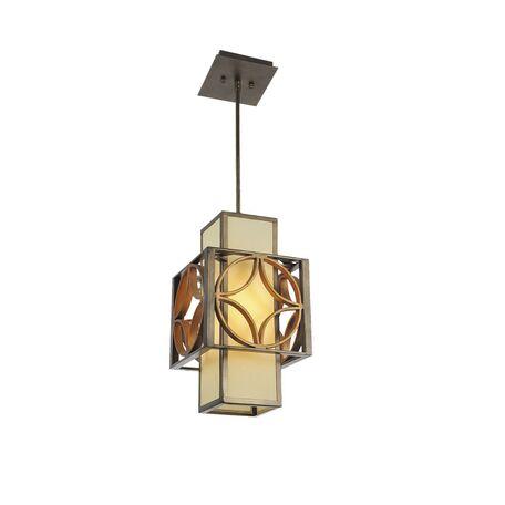 Подвесной светильник Favourite Heraklion 1403-1P, 1xE27x40W, коричневый, бежевый, матовое золото, металл, стекло