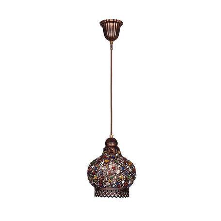 Подвесной светильник Favourite Latifa 1666-1P, 1xE27x40W, коричневый, разноцветный, металл, металл с хрусталем