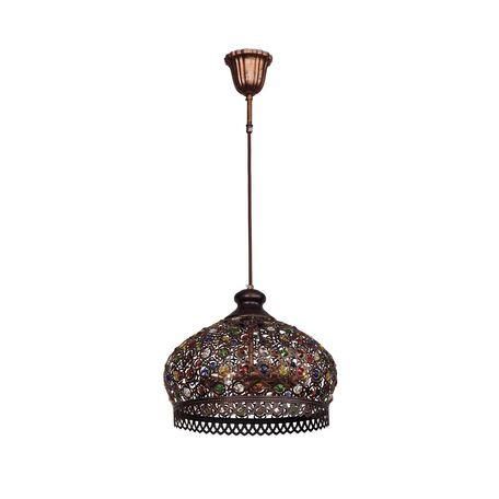Подвесной светильник Favourite Latifa 1666-3P, 3xE14x40W, коричневый, разноцветный, металл, металл с хрусталем