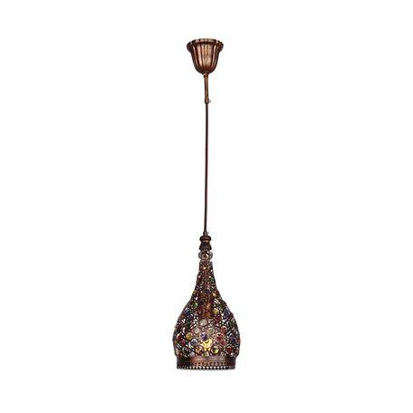 Подвесной светильник Favourite Latifa 1668-1P, 1xE27x40W, коричневый, разноцветный, металл, металл с хрусталем - миниатюра 1
