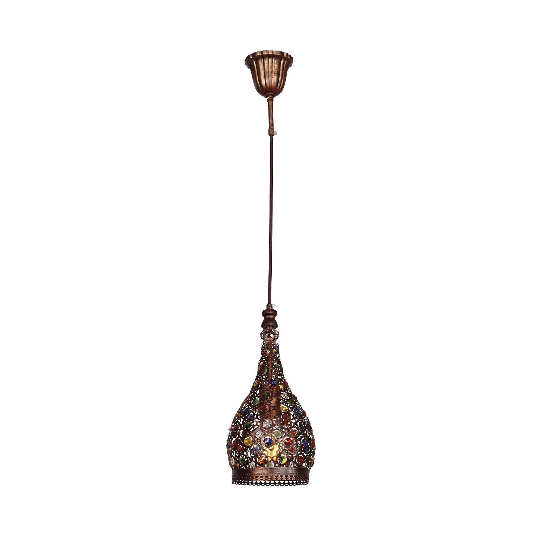 Подвесной светильник Favourite Latifa 1668-1P, 1xE27x40W, коричневый, разноцветный, металл, металл с хрусталем - фото 1