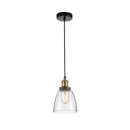 Подвесной светильник Favourite Cascabel 1874-1P, 1xE27x60W, черный, прозрачный, металл, стекло