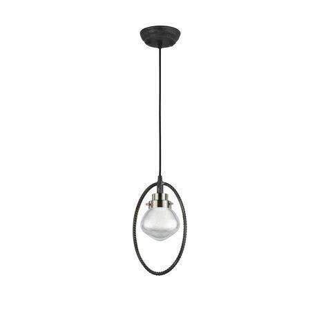 Подвесной светильник Favourite Lick 1901-1P, 1xG9x5W, черный с серебряной патиной, прозрачный, черный, металл, стекло