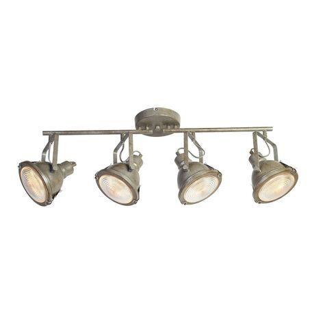 Потолочный светильник с регулировкой направления света Favourite Industria 1899-4C, 4xGU10x50W, серый, прозрачный, металл, стекло