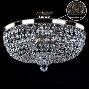 Потолочная люстра Artglass GERTA DIA 450 BRASS ANTIQUE SP, 6xE14x40W, кристаллы SPECTRA Swarovski