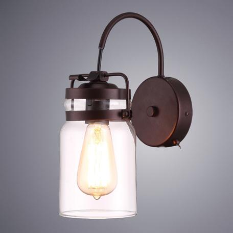 Бра Arte Lamp Bene A9179AP-1CK, 1xE27x60W, коричневый, прозрачный, металл, стекло