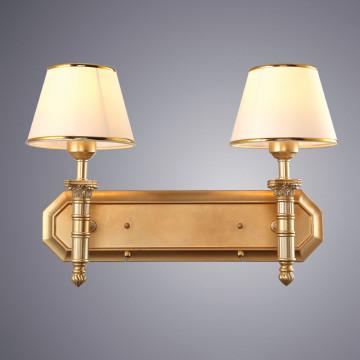 Бра Arte Lamp Budapest A9185AP-2SG, 2xE27x40W, матовое золото, бежевый, золото, металл, пластик, текстиль