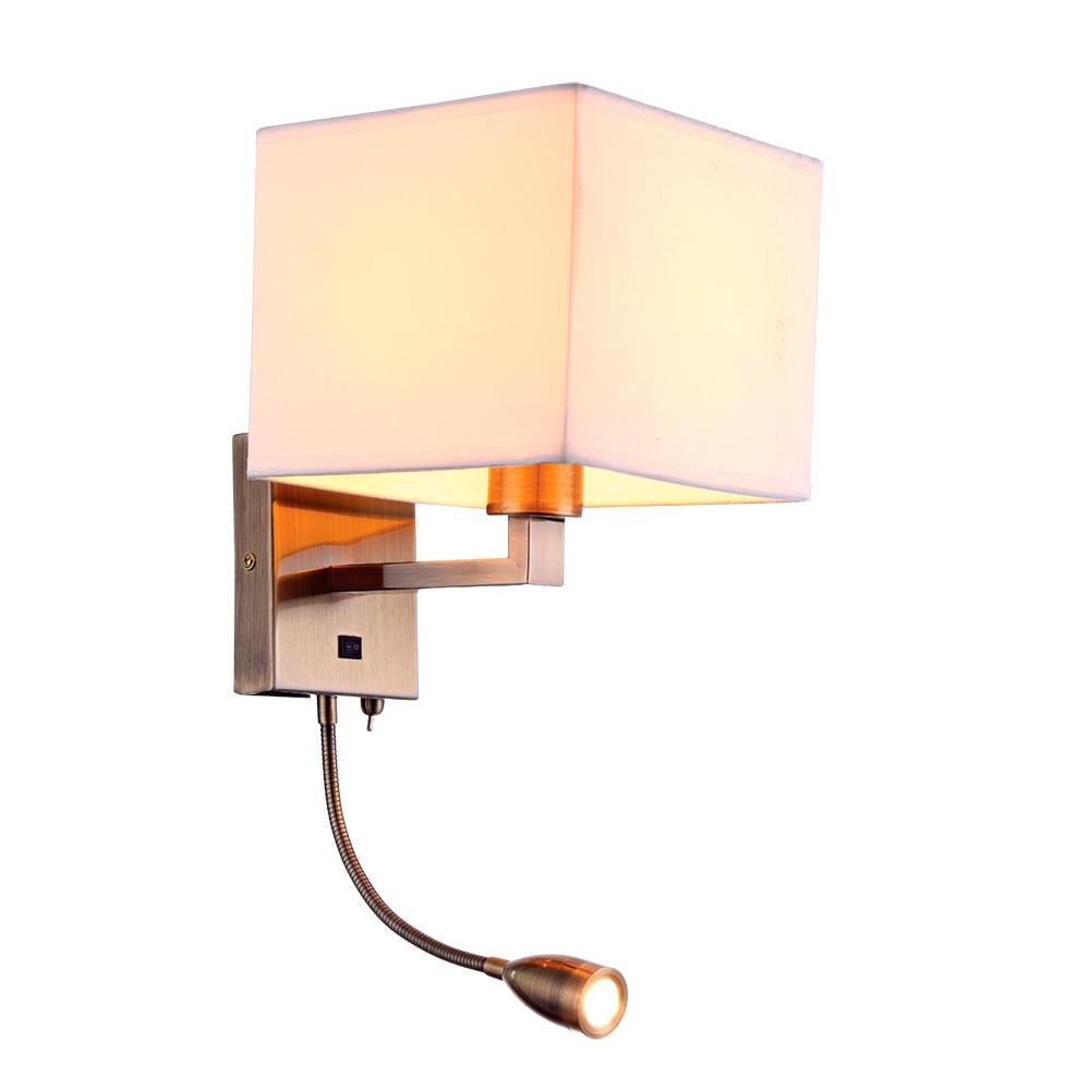 Бра с дополнительной подсветкой Arte Lamp Hall A9249AP-2AB, 1xE27x40W + LED 3W 3000K 180lm CRI≥80, бронза, белый, металл, текстиль - фото 1