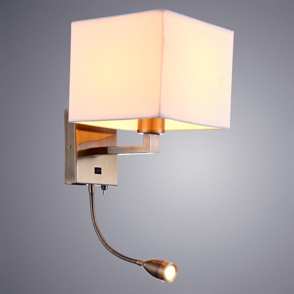 Бра с дополнительной подсветкой Arte Lamp Hall A9249AP-2AB, 1xE27x40W + LED 3W 3000K 180lm CRI≥80, бронза, белый, металл, текстиль - фото 2