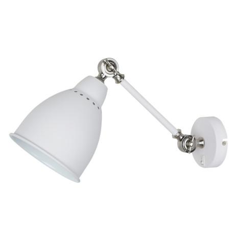 Бра с регулировкой направления света Arte Lamp Braccio A2054AP-1WH, 1xE27x60W, белый с серебром, белый, металл
