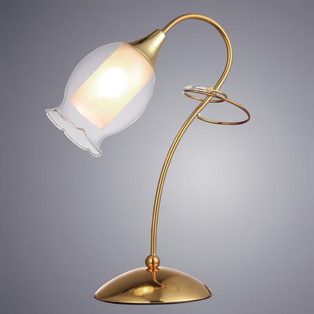 Настольная лампа Arte Lamp Mughetto A9289LT-1GO, 1xE14x40W, золото, белый, прозрачный, металл, стекло