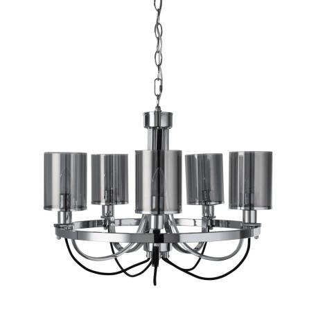 Подвесная люстра Arte Lamp Ombra A2995LM-5CC, 5xE14x40W, хром, дымчатый, металл, стекло