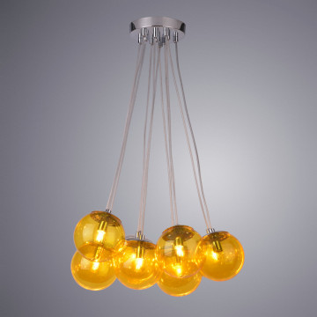 Подвесная люстра Arte Lamp Pallone A3029SP-11CC, 11xG9x5W, хром, янтарь, металл, стекло