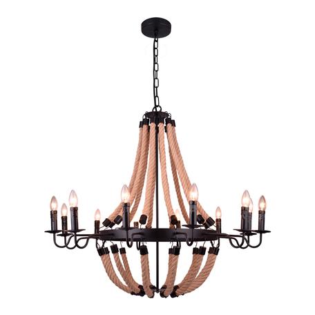 Подвесная люстра Arte Lamp Marsiglia A8956LM-12BK, 12xE14x40W, бежевый, черный, канат, металл