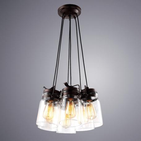 Подвесная люстра Arte Lamp Bene A9179SP-6CK, 6xE27x60W, коричневый, прозрачный, металл, стекло