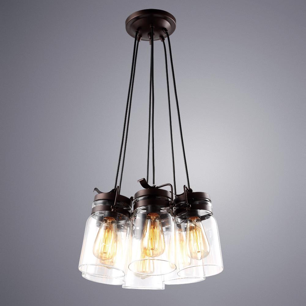 Подвесная люстра Arte Lamp Bene A9179SP-6CK, 6xE27x60W, коричневый, прозрачный, металл, стекло - фото 1