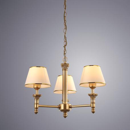 Подвесная люстра Arte Lamp Budapest A9185LM-3SG, 3xE27x40W, матовое золото, бежевый, золото, металл, пластик, текстиль