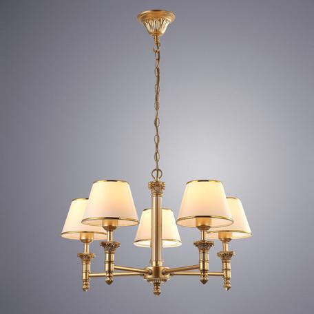 Подвесная люстра Arte Lamp Budapest A9185LM-5SG, 5xE27x40W, матовое золото, бежевый, золото, металл, пластик, текстиль