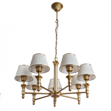 Подвесная люстра Arte Lamp Budapest A9185LM-7SG, 7xE27x40W, матовое золото, бежевый, золото, металл, пластик, текстиль