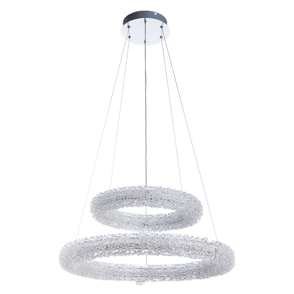 Подвесной светодиодный светильник Arte Lamp Lorella A1726SP-2CC, LED 75W 3000K 5000lm CRI≥80, хром, прозрачный, металл, хрусталь - фото 1