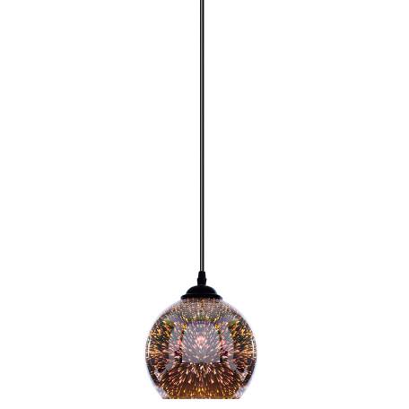 Подвесной светильник Arte Lamp Miraggio A3218SP-1BK, 1xE27x40W, черный, хром, 3D-эффект, металл, стекло