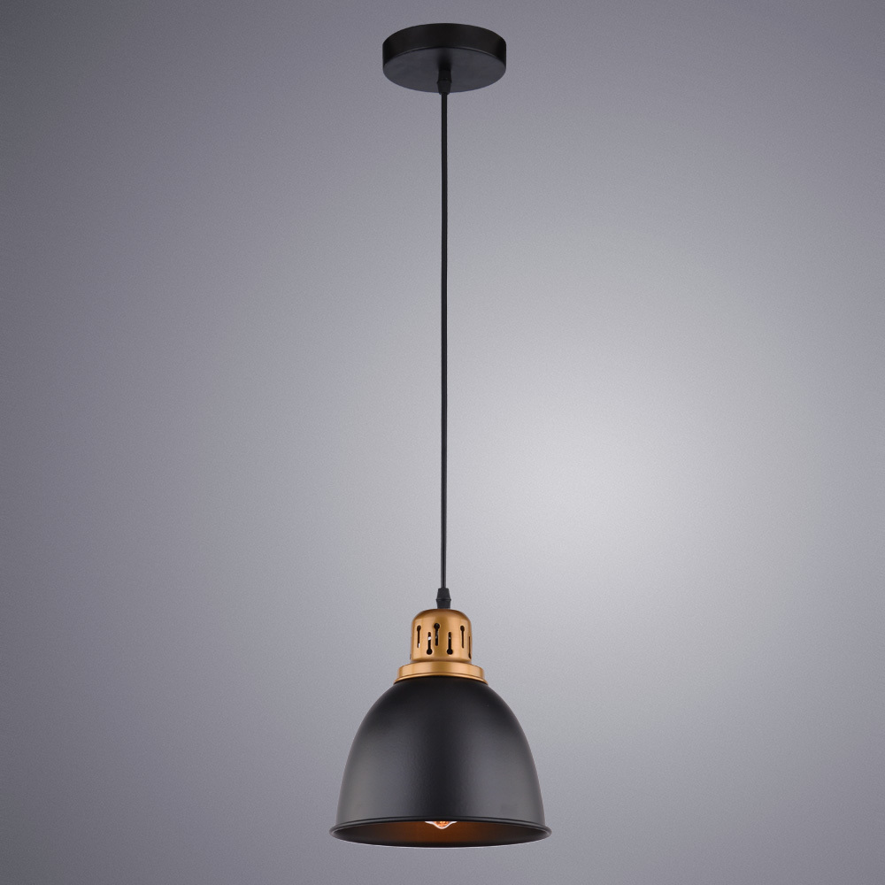 Подвесной светильник Arte Lamp Eurica A4245SP-1BK, 1xE27x60W, черный, металл - фото 2