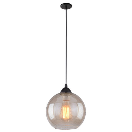 Подвесной светильник Arte Lamp Splendido A4285SP-1AM, 1xE27x40W, черный, янтарь, металл, стекло