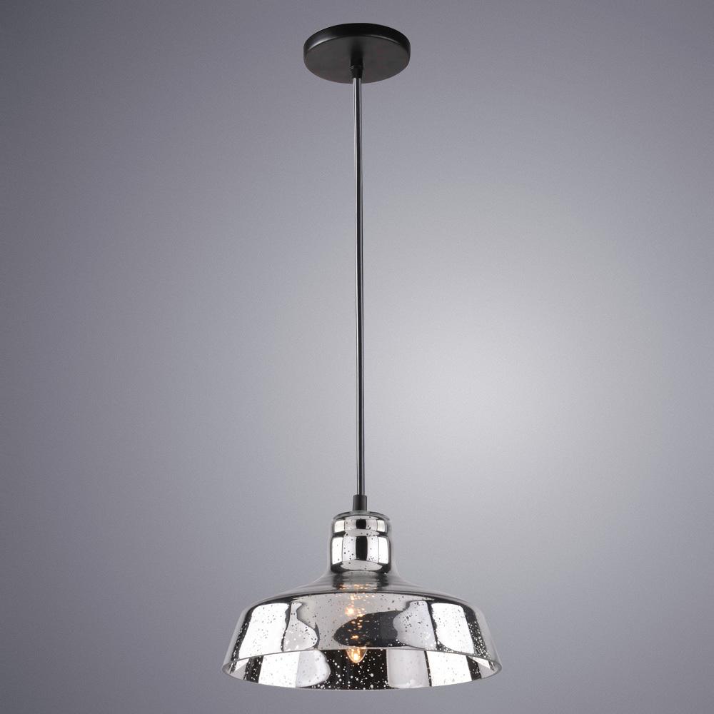 Подвесной светильник Arte Lamp Riflesso A4297SP-1CC, 1xE27x40W, черный, хром, металл, стекло - фото 1