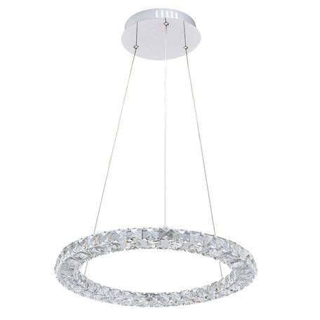 Подвесной светодиодный светильник Arte Lamp Preziosi A6703SP-1CC, LED 24W, 3000K (теплый), хром, прозрачный, металл, хрусталь