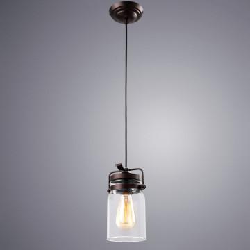 Подвесной светильник Arte Lamp Bene A9179SP-1CK, 1xE27x60W, коричневый, прозрачный, металл, стекло