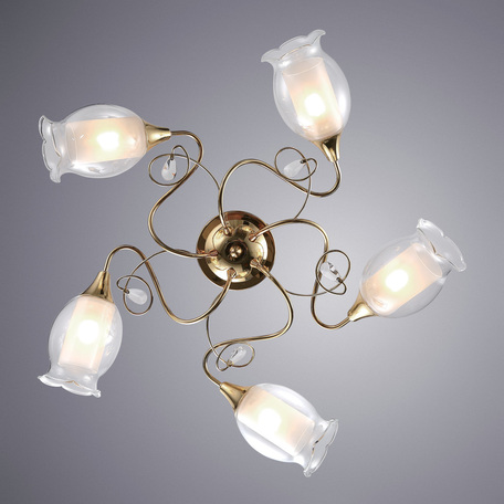 Потолочная люстра Arte Lamp Mughetto A9289PL-5GO, 5xE14x40W, золото, белый, металл, стекло