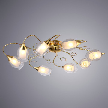 Потолочная люстра Arte Lamp Mughetto A9289PL-8GO, 8xE14x40W, золото, белый, металл, стекло