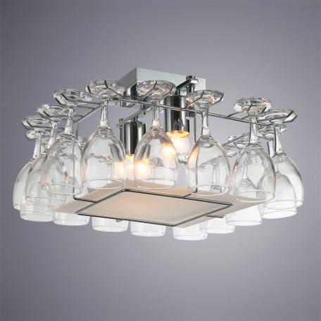 Потолочный светильник Arte Lamp Bancone A7043PL-2CC, 2xE27x60W, хром, белый, прозрачный, металл, стекло