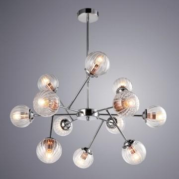 Подвесная люстра Arte Lamp Arancia A9276LM-12CC, 12xE14x40W, хром, прозрачный, металл, стекло