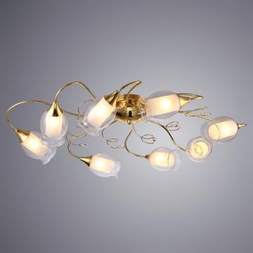 Потолочная люстра Arte Lamp Mughetto A9289PL-8GO, 8xE14x40W, золото, прозрачный, белый, металл, стекло