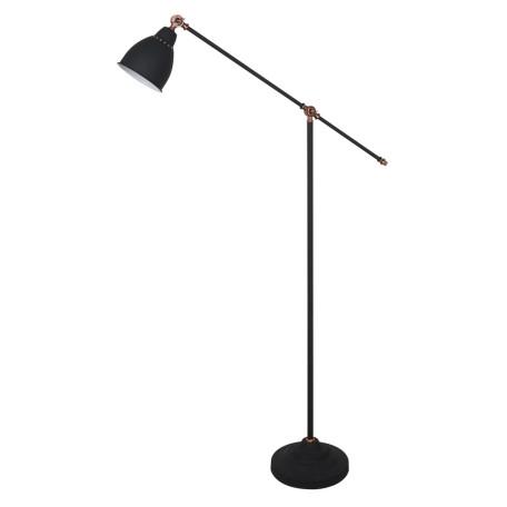 Торшер Arte Lamp Braccio A2054PN-1BK, 1xE27x60W, черный с медью, черный, металл