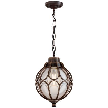 Подвесной светильник Maytoni Via O024PL-01G, IP65, 1xE27x100W, коричневый с золотой патиной, коричневый с янтарем, янтарь с коричневым, металл, металл со стеклом, стекло с металлом